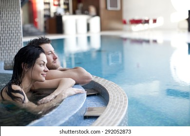 Relax in jacuzzi of spa . focus on girl's face