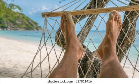 Relax on the Beach in Hammock, Haad Rin , Koh Pangang