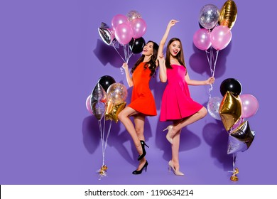 Relax, rest, careless, carefree, dream, dreamy concept. Full length, legs, body, size portrait of dance woman on sharp, pumps, stilettos close eyes raised hands up isolated on shine purple background