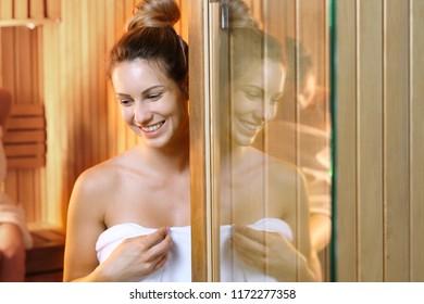 Relax in the sauna. Beautiful woman in the sauna.
