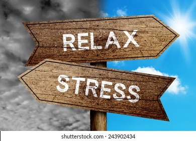 Relax Or Stress concept road sign with cloudy and sunny sky background.