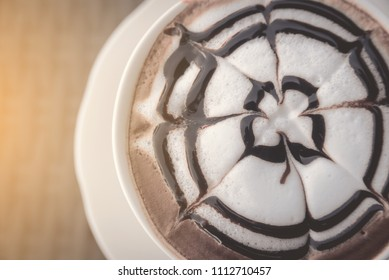 Relax time with hot cappuccino coffee in coffee cafe - Top view