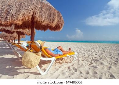 Relaxation on the idyllic beach of Caribbean Sea, Mexico
