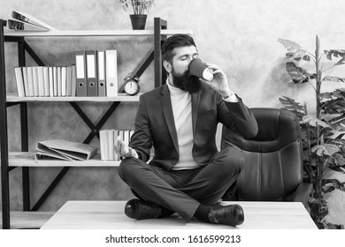Relaxation techniques. Mental wellbeing and relax. Man bearded manager formal suit sit lotus pose relaxing. Prevent professional burnout. Way to relax. Meditation yoga. Self care. Psychological help.