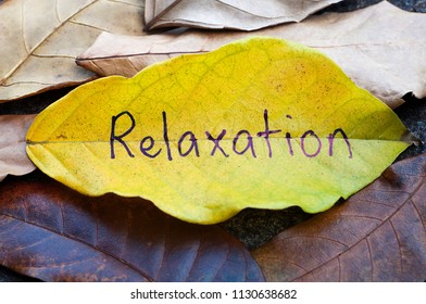 Relaxation written on a leaf