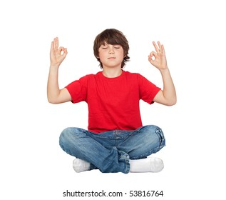 Relaxed child practicing yoga on a white background