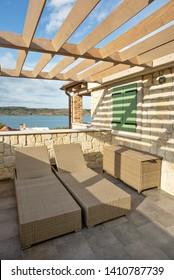 Relaxed corner of terrace for reading or sunbathing