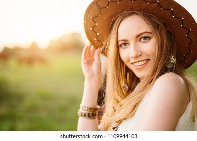 Relaxed girl at sunset