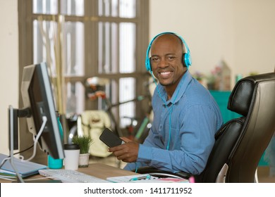 Relaxed man in listening to music or other media
