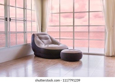 Relaxed room with mattress placed near the window, window isolated on white background with clipping path for a beautiful backdrop.