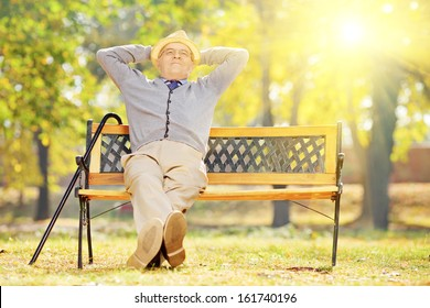 Relaxed senior gentleman sitting on wooden bench in a park on a sunny day