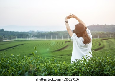 Relaxed woman, arms rised, freedom and life. Young lady feeling free, relaxed and happy. Concept of vacations, freedom, happiness, enjoyment and well being.