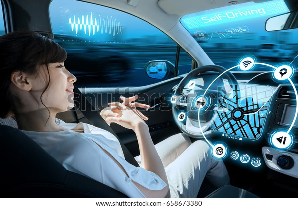 relaxed woman in autonomous car. self driving vehicle. autopilot. automotive technology.