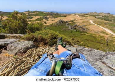 Relaxing after a successful rock climb