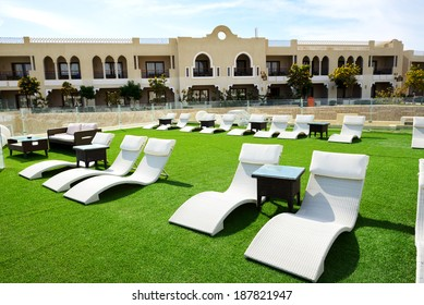 Relaxing area at luxury hotel, Sharm el Sheikh, Egypt