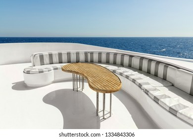 Relaxing area of luxury yacht