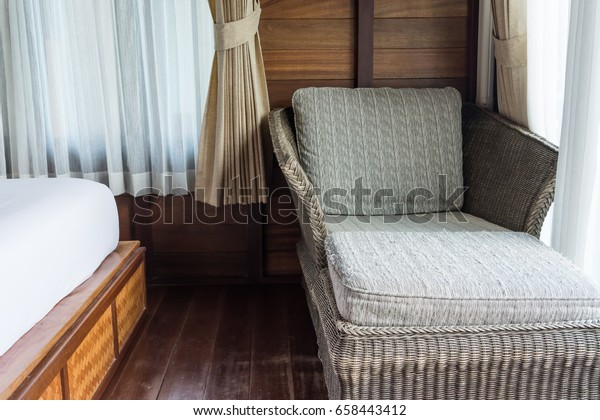 Relaxing Arm Chair Bedroom Window Curtain Stock Photo (Edit ...