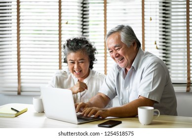 Relaxing Asian Senior Couple having fun with laptop computer together at their Apartment. Online shopping, Retirement.