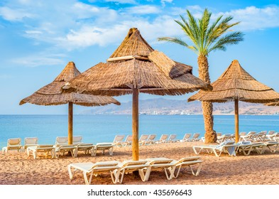 Relaxing atmosphere on the central beach of Eilat - famous resort and recreational city in Israel
