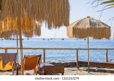 Relaxing atmosphere on tropical island. Summer vacation photo. Sunny day near ocean.