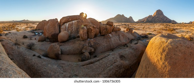 Relaxing behind the rock before the sunset at Spitzkoppe