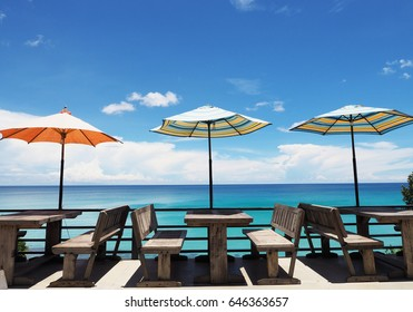 Relaxing with best sea view with umbrella