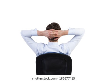 Relaxing businessman, isolated.
