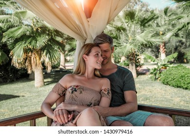 relaxing couple on summer resort