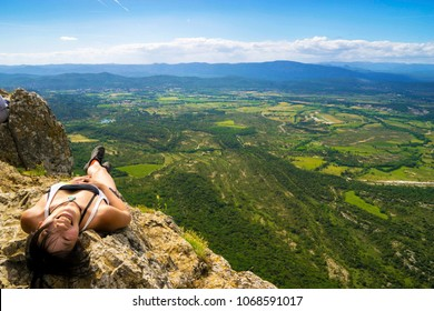 Relaxing at the end of the hike on Pic-Saint-Loup in Southern France, close to Montpellier.