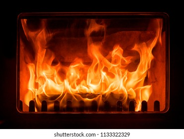Relaxing fire in a closed fireplace