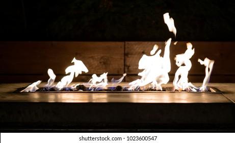 Relaxing fire in a modern firepit