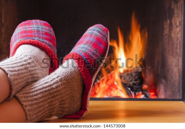 Relaxing Fireplace On Winter Evening Stock Photo (Edit Now