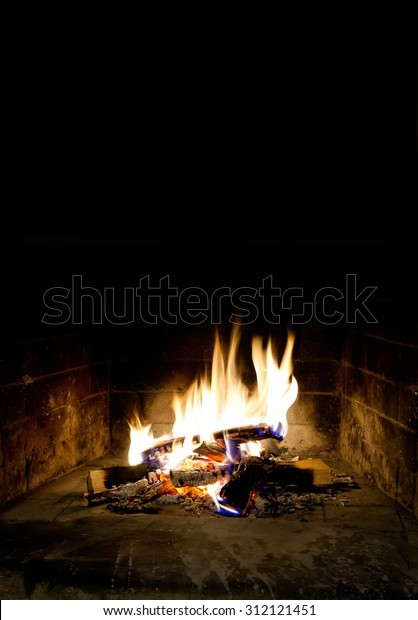 Relaxing Fireplace On Winter Evening Hearth Stock Photo