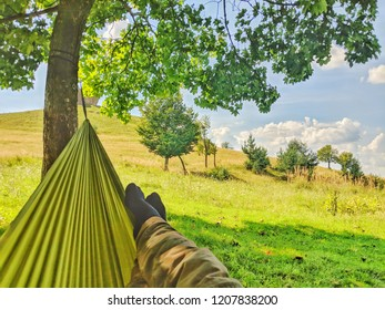 relaxing in a hammock during summer