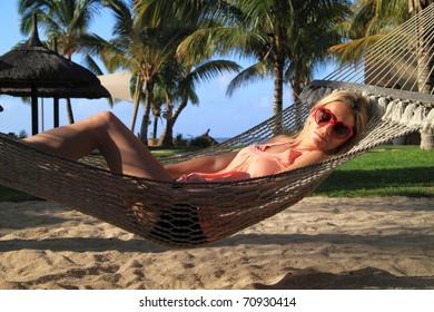 Relaxing in a hammock in paradise