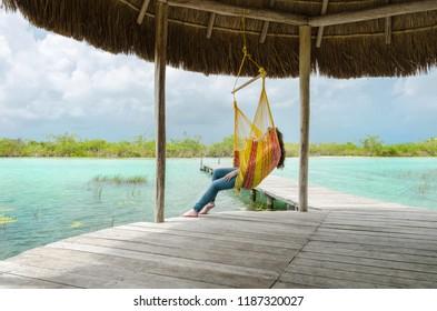 Relaxing in a heavenly hammock