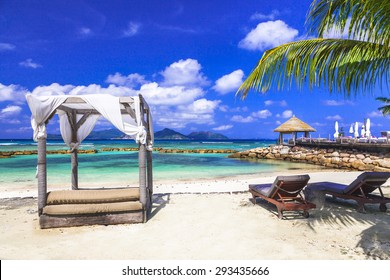 relaxing holidays in Seychelles islands. La Digue