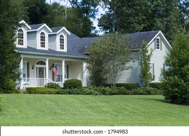 Relaxing Home with American flag on porch 01