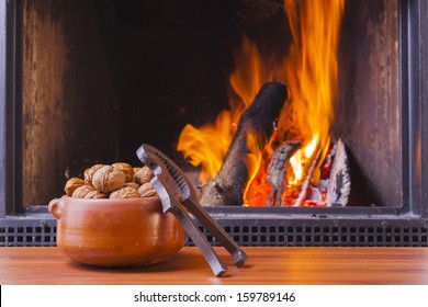 relaxing at homely warm fireplace