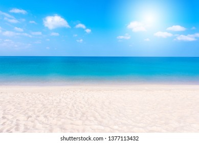 Relaxing Landscape view of white beach, clear sea and blue sky