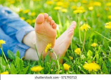 Relaxing lying in a meadow in summer sunshine