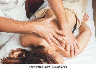 Relaxing massage for the girl. Concept - rest.