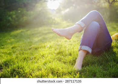 Relaxing in a meadow in the summer sun