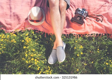 Relaxing in a meadow in the summer sun.