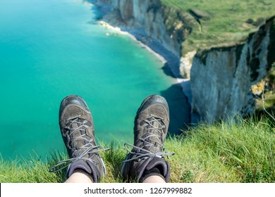 Relaxing on a cliff after a walk along the French Opal Coast