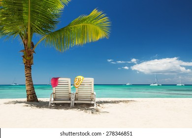 Relaxing on remote beach