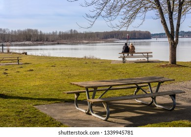 Relaxing and overlooking a viewpoint in a public park Oregon.