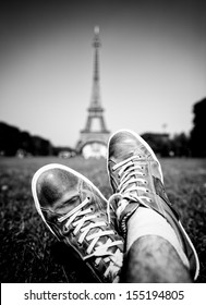 Relaxing in Paris under the Eiffel Tower