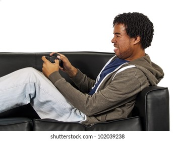 relaxing and playing video games (side view)