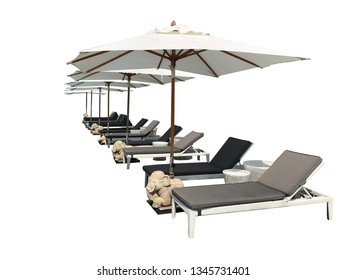 Relaxing pool bed beside swimming pool on white background with clipping path